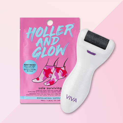 Holler and Glow Sole Surviving Exfoliating Foot Mask - 1.35 fl oz, Spa Sciences Viva Deluxe Pedi Extra Coarse & Fine Pedicure Electronic Foot Smoother with Diamond Crystals