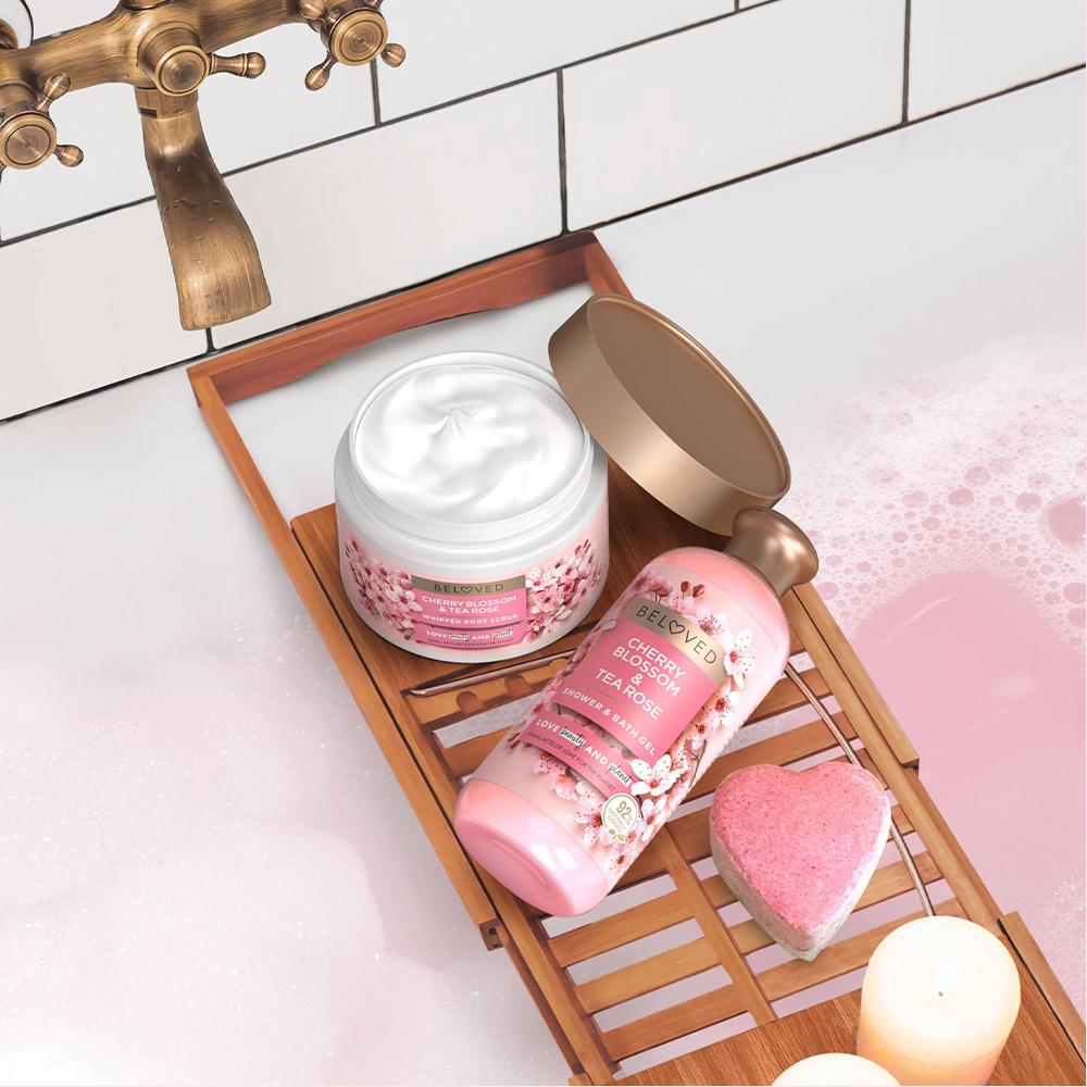 Beloved Cherry Blossom & Tea Rose Body Scrub - 10oz, Beloved Cherry Blossom & Tea Rose Shower & Bath Gel Body Wash - 12 fl oz, Beloved Cherry Blossom & Tea Rose Bath Bomb - 1ct/4oz