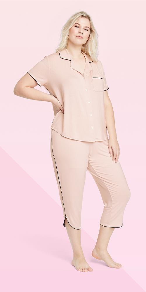 Women's Plus Size Beautifully Soft Crop Notch Collar Top Pajama Set - Stars Above™ Soft Pink 1X