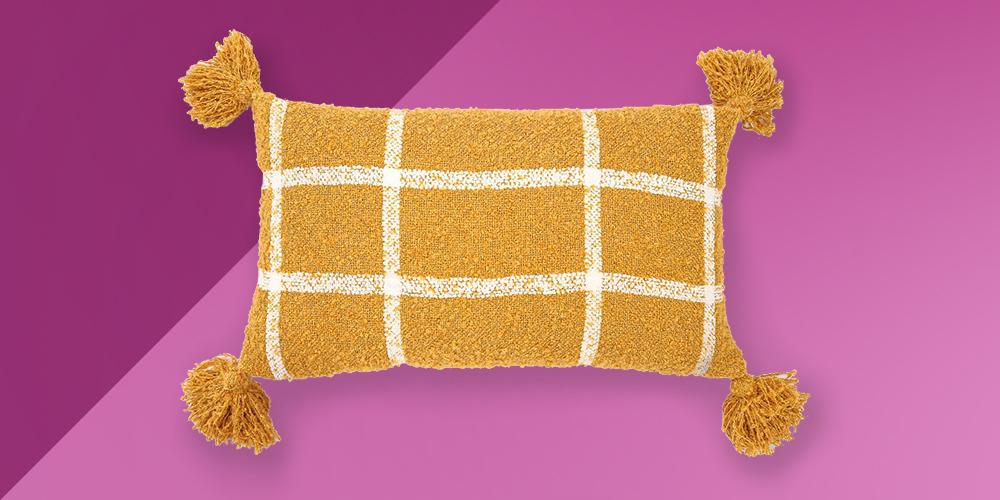 "14""x24"" Plaid Boucle Woven Throw Pillow Mustard - EVERGRACE"