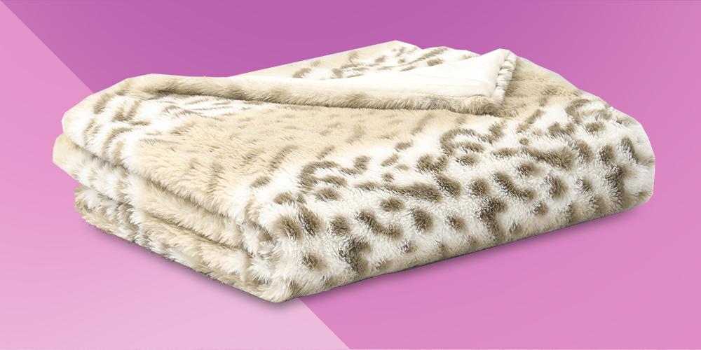 "60""x50"" Leopard Faux Fur Decorative Throw - Evergrace"