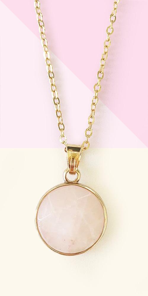 Sanctuary Project Rose Quartz Round Pendant Necklace Gold