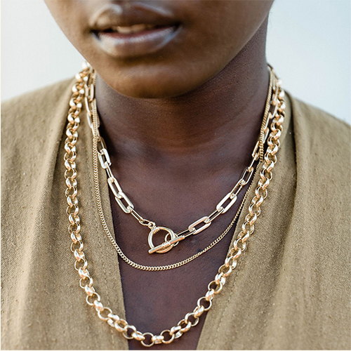 Sanctuary Project Dainty Thin Chain Necklace Gold, Sanctuary Project Flat Chain Link Necklace Gold, Sanctuary Project Round Chain Link Necklace Gold
