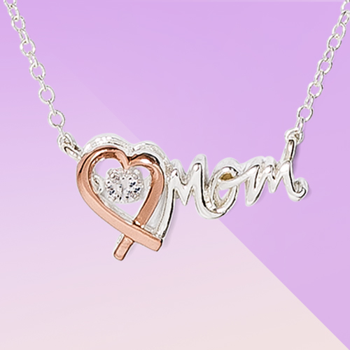 Silver Plated and Rose Gold with Cubic Zirconia 'Mom' Necklace - Silver