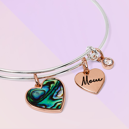 Abalone Heart and Cubic Zirconia'Mom' Charm Bracelet - Silver