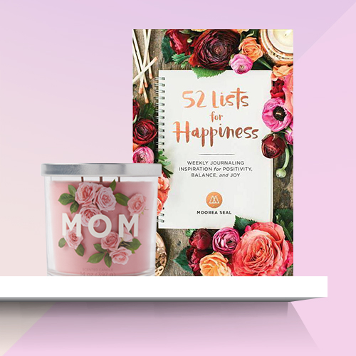 52 Lists for Happiness : Weekly Journaling Inspiration for Positivity, Balance, and Joy - by Moorea Seal (Hardcover), 14oz Glass Jar 3-Wick Mom Candle - Opalhouse™