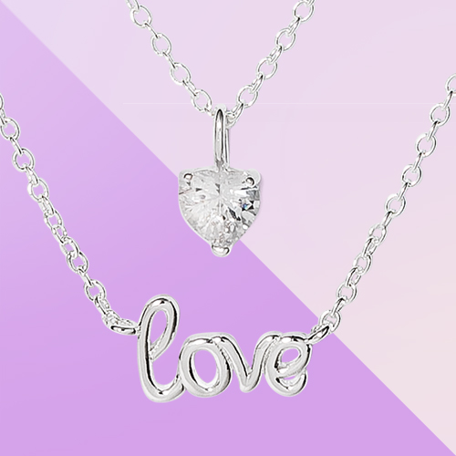 Silver Plated with Cubic Zirconia Love and Heart Necklace Set 2pc - Silver