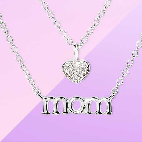 Silver Plated with Cubic Zirconia Mom and Heart Necklace Set 2pc - Silver