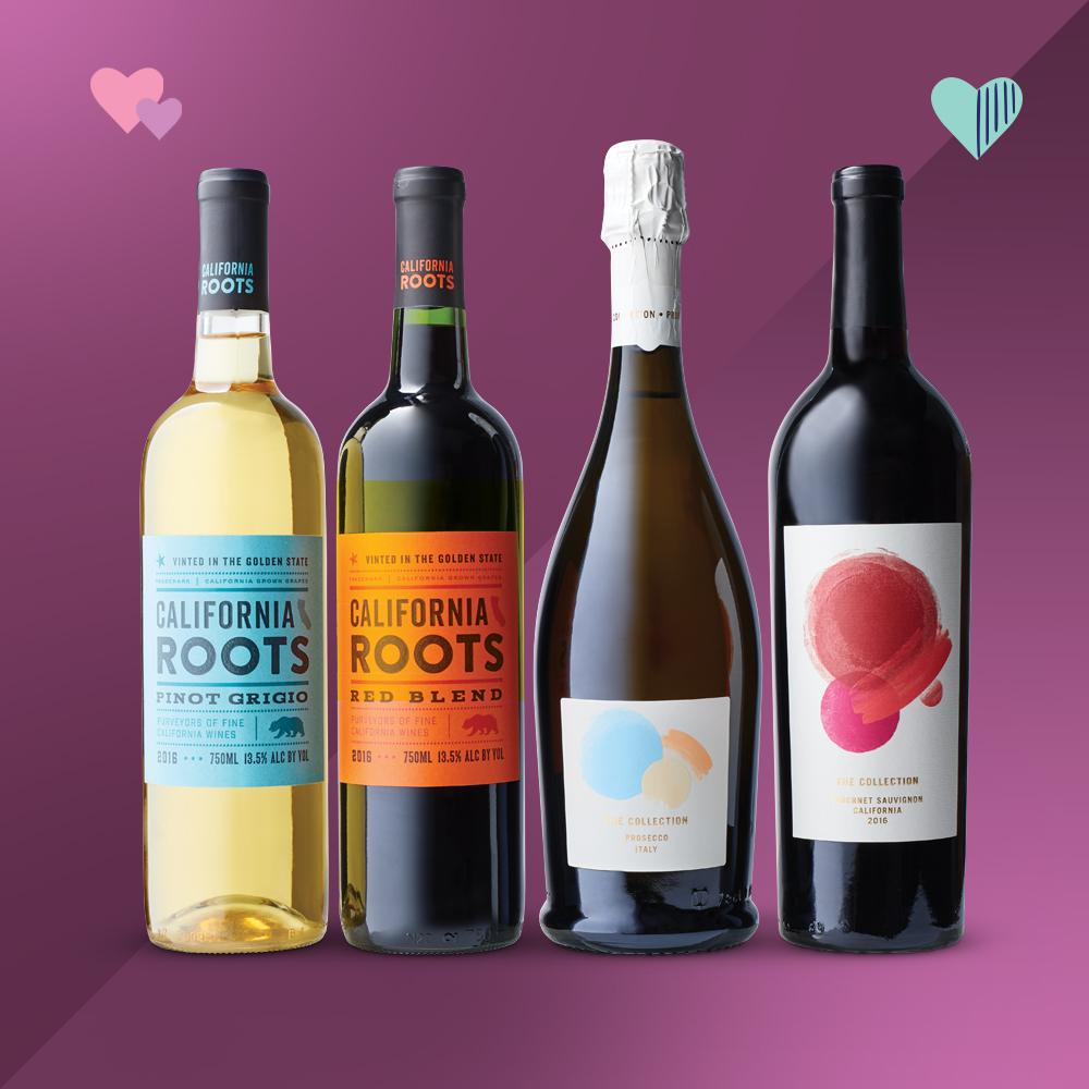 Pinot Grigio White Wine - 750ml Bottle - California Roots™, Red Blend Wine - 750ml Bottle - California Roots™, Prosecco Sparkling White Wine - 750ml Bottle - The Collection, Cabernet Sauvignon Red Wine - 750ml Bottle - The Collection