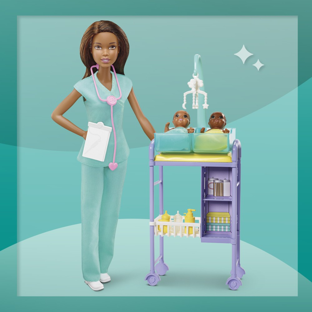 Barbie You Can Be Anything Baby Doctor Brunette Doll and Playset, Barbie You Can Be Anything Baby Doctor Blonde Doll and Playset, Barbie Careers Pediatrician Doll Playset, Barbie Careers Nurse Doll, Barbie Careers Pediatrician Doll Playset, Barbie Care Clinic Playset, Barbie Dentist Doll & Playset - Blonde, Barbie Careers Fast Cast Clinic Playset