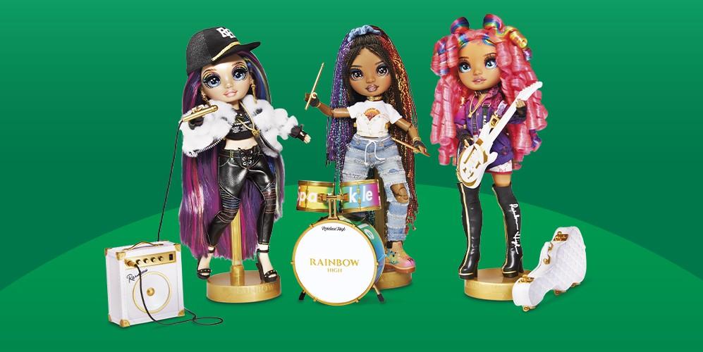 Rainbow High Rockstar Lyric Lucas Fashion Doll, Rainbow High Rockstar Vanessa Tempo Fashion Doll, Rainbow High Rockstar Carmen Major Fashion Doll