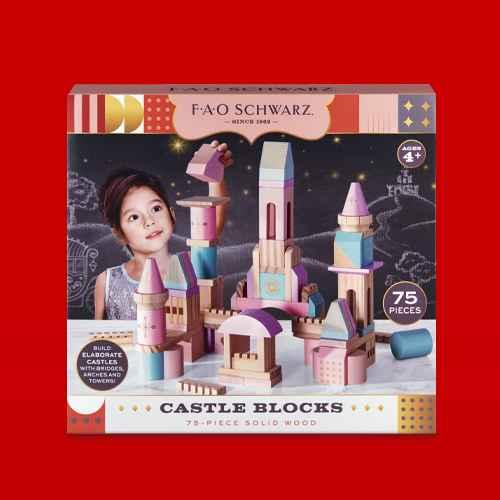 FAO Schwarz Castle Block Set- Pink, Purple, Glitter - 75pc