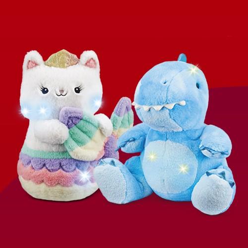 "FAO Schwarz Glow Brights with Soft LED Lights and Sound Meowmaid 12"" Stuffed Animal, FAO Schwarz Glow Brights Toy Plush LED with Sound Dragon 15"" Stuffed Animal"