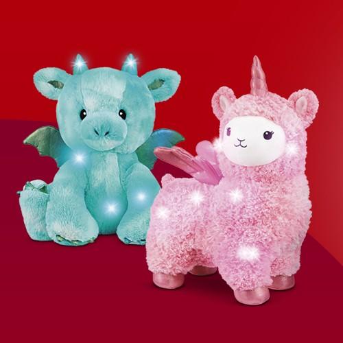 "FAO Schwarz Glow Brights Toy Plush LED with Sound Dinosaur 12"" Stuffed Animal, FAO Schwarz Glow Brights Toy Plush LED with Sound Llamacorn 15"" Stuffed Animal"