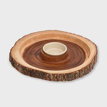 Lipper International Acacia Bark Round Server with Dip Bowl