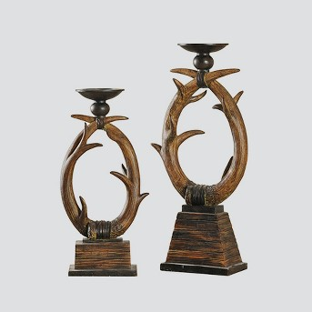Candle Holder Set of 2 - Antlers - Brown