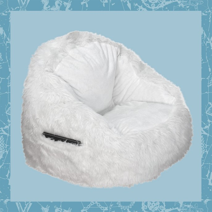 Faux Fur Bean Bag Structured Chair with Pocket