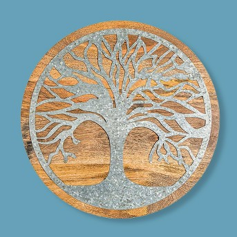 Tree Of Life Wood And Galvanized Metal Wall Art - Plow & Hearth