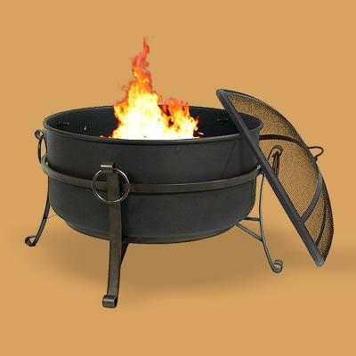 """Cauldron 24"""" Steel Wood Burning Fire Pit Bowl - Round - Sunnydaze Decor"""