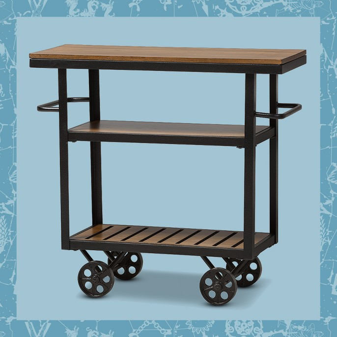 Kennedy Rustic Industrial Style Antique Textured Finished Metal and Distressed Wood Mobile Serving Cart - Brown, Black - Baxton Studio