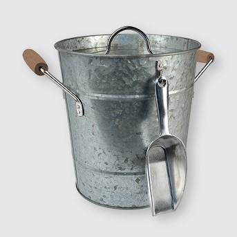 Masonware Ice Bucket with Scoop, Plastic Insert & Lid, Galvanized