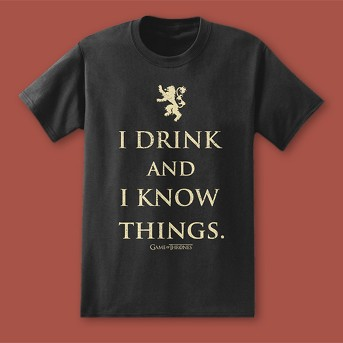 Men's Game Of Thrones- I Drink and I Know Things Short Sleeve Graphic T-Shirt Black