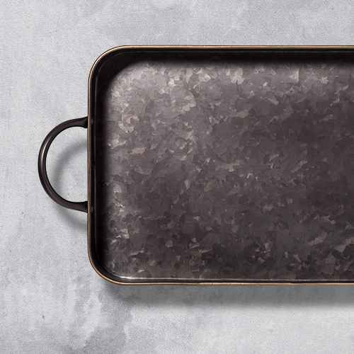 Metal Rectangle Serving Tray Black - Threshold™