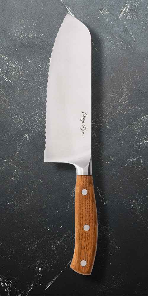 "Cravings by Chrissy Teigen 7"" My Go To Serrated Santoku Knife"