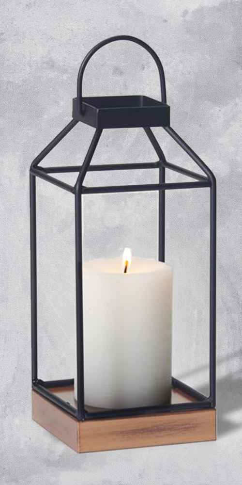 "10"" Mallory Metal Outdoor Lantern with No Glass Black - Smart Living"
