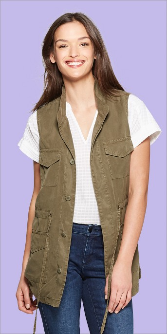 Women's Utility Military Jacket - Universal Thread™ Olive S