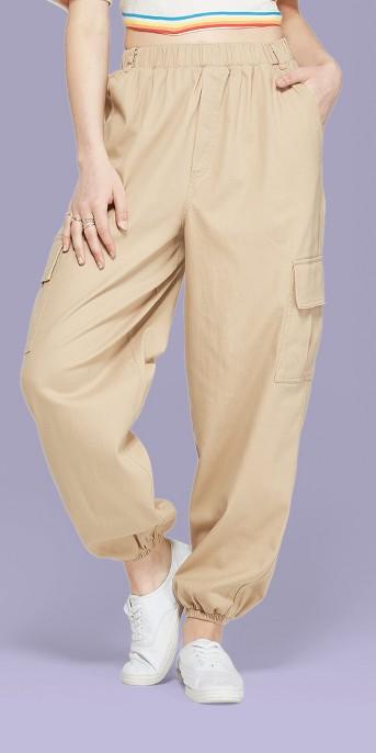 Women's High-Rise Baggy Cargo Pants - Wild Fable™ Khaki