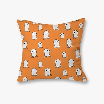 Orange Allyson Johnson Ghosts Throw Pillow (20