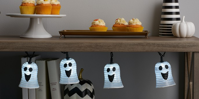 10ct LED Halloween Fabric Ghost Lights - Pure White - Hyde and Eek! Boutique™