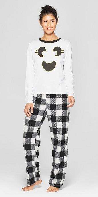 Snooze Button Women's Ghost Pajama Set - White