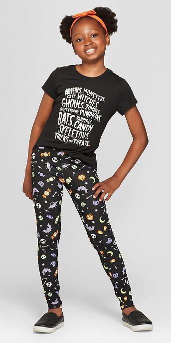 Girls' Short Sleeve Halloween Tricks and Treats T-Shirt - Cat & Jack™ Black