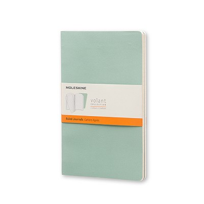 Moleskine® Volant Journal, College Ruled, 96 sheets, 5 inch by 8.25 inch - 2 pack - Green