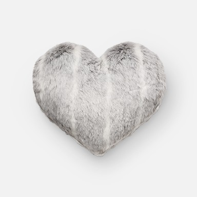 Gray Stripe Oversize Faux Fur Heart Throw Pillow