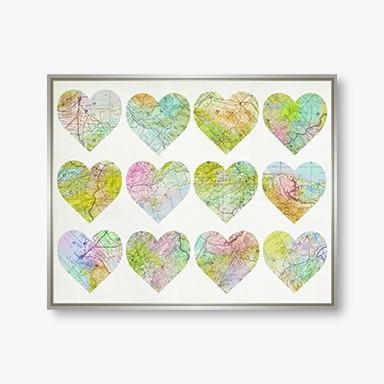 Heart Map 21.75X17.75 Wall Art