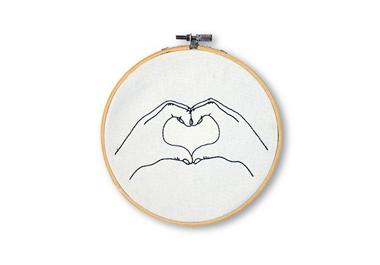 Heart Hands Embroidery Hoop Hand Stitched Decorative wall sculpture - New View