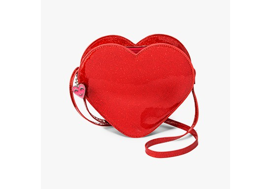 Girls' Glitter Suede Heart Crossbody - Cat & Jack™ Red