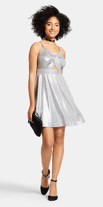 Women's Strappy Cut-Out Foiled Dress - Xhilaration™ Silver