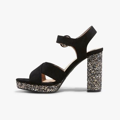 Women's Fiona Glitter Crossband Platform Quarter Strap Sandal - A New Day™