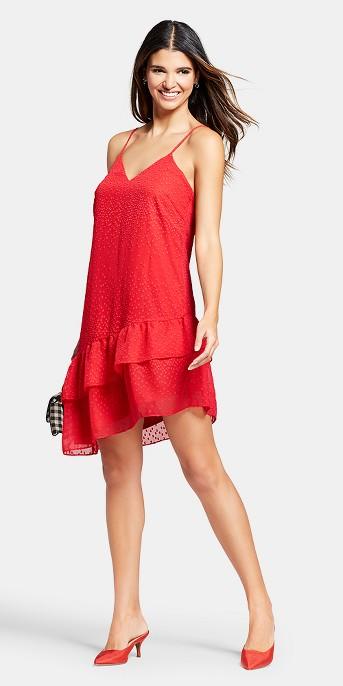 Women's Sleeveless Asymmetrical Dress with Double Ruffle Hem - Éclair Red