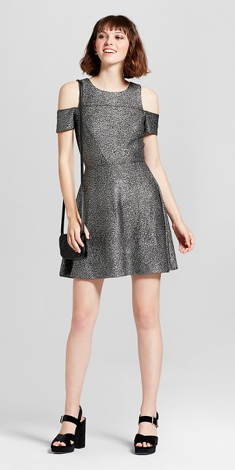 Women's Lurex Shine Cold Shoulder Party Dress - Necessary Objects Silver