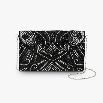 Estee & Lilly Bead Flap Clutch - Black