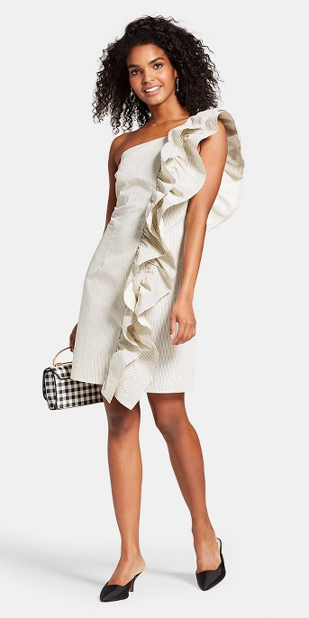 Women's Striped One Shoulder Ruffle Mini Dress - Who What Wear™ Blue/White