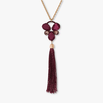 Cab and Bezel Stone with Tassel Necklace - A New Day™ Royal Burgundy