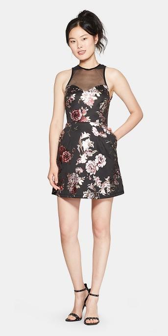 Women's Floral Print Sleeveless Illusion Neckline Dress - 3Hearts (Juniors') Black
