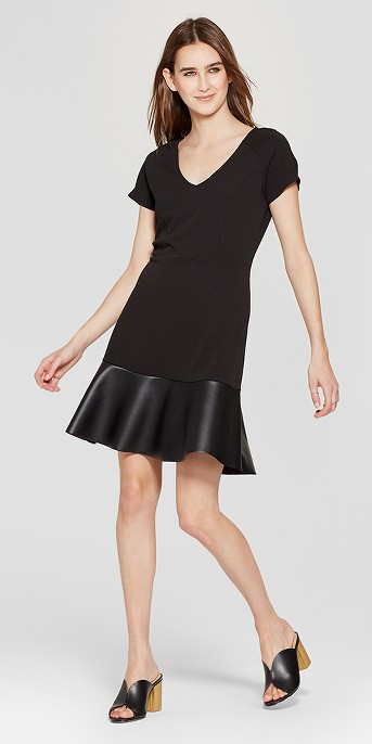 Women's Short Sleeve Fit and Flare Leather Hem Dress - Vanity Room Black
