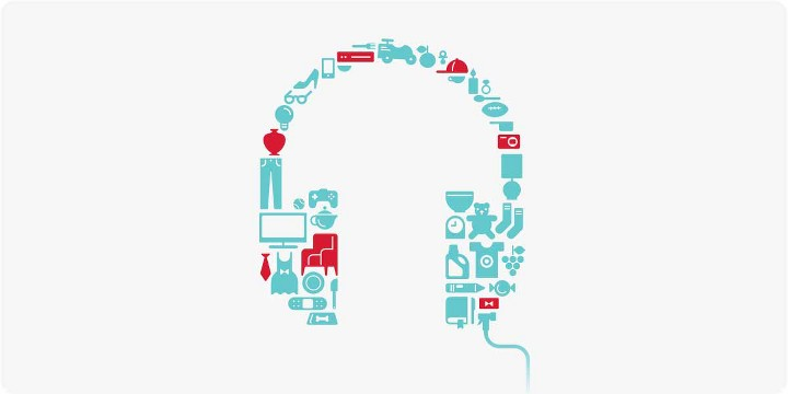 graphic headphones thats made out of small graphic elements of several retail products